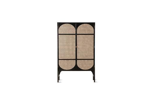 Armoire rétro Larchamp en toile noire avec étagères