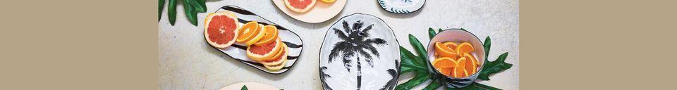 Mise en avant matière Assiette creuse palmiers Fréthun en porcelaine