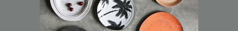 Mise en avant matière Assiette palmiers Fréthun en porcelaine
