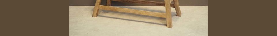 Mise en avant matière Banc Chersey pour deux personnes en bois naturel