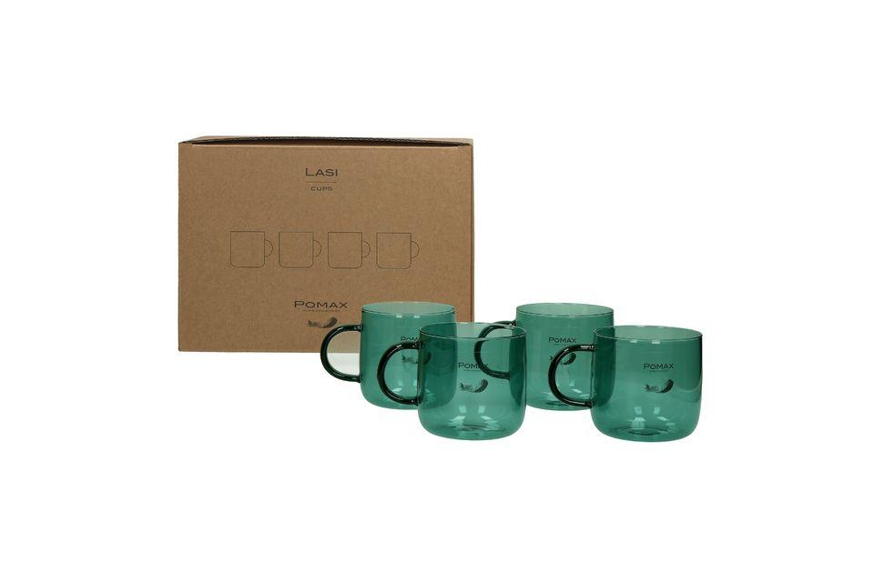 Ces 4 tasses à café ont une hauteur de 8 cm et un diamètre de 8,5 cm
