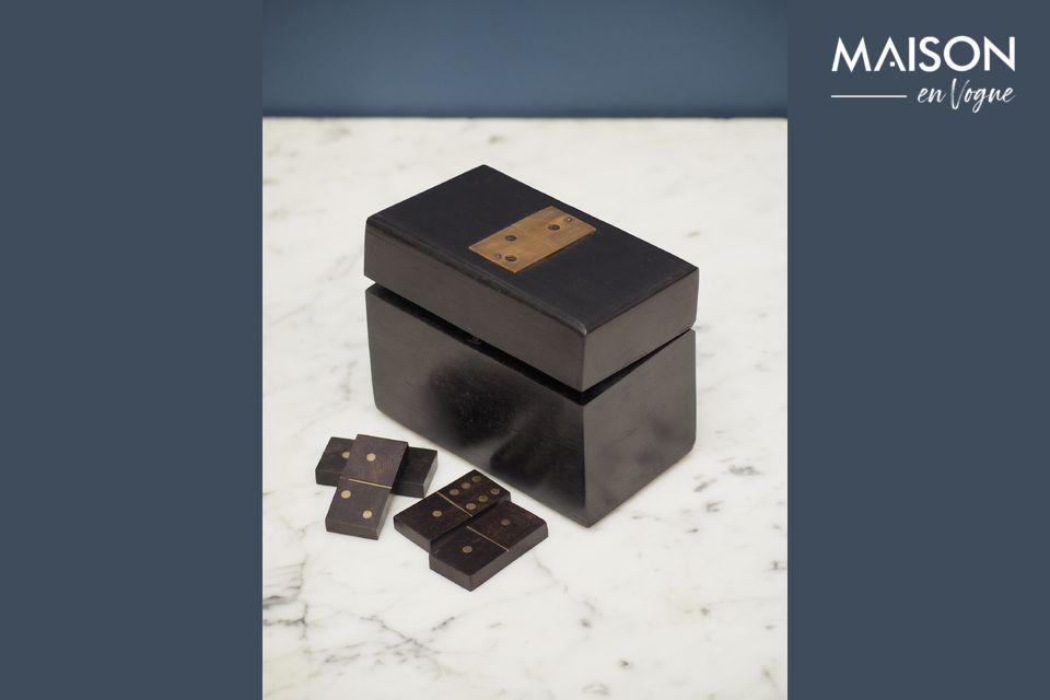 Boîte en bois à dominos Bouhey avec détails en laiton Chehoma