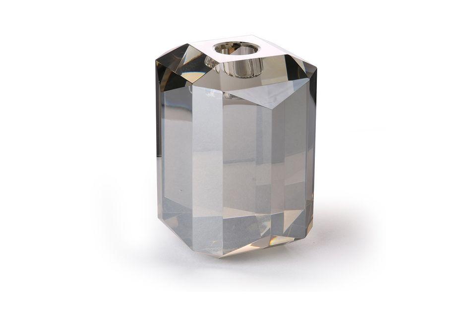 Bougeoir en verre Cristal diamant gris HK Living
