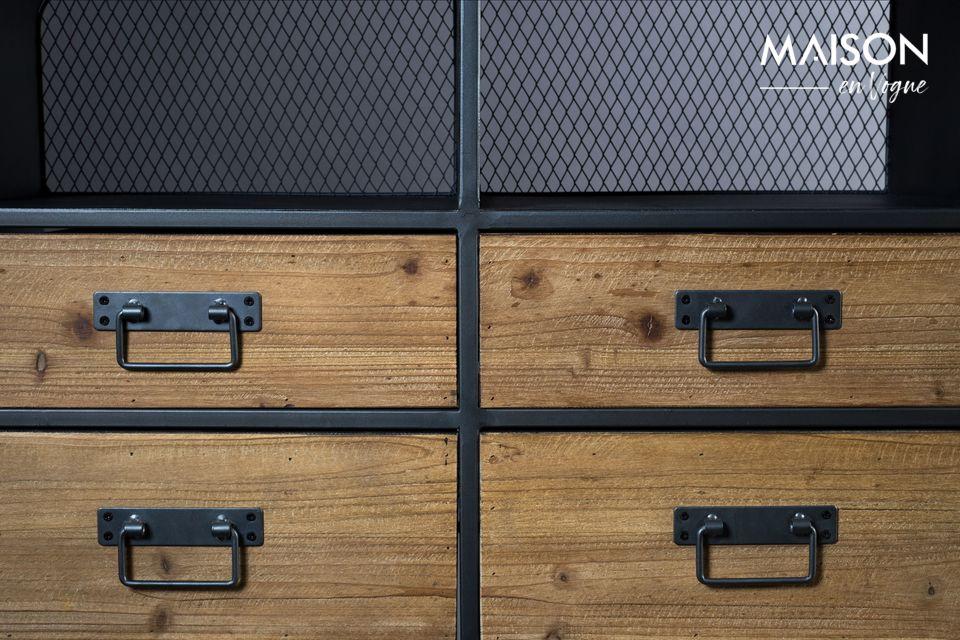 Les 4 tiroirs et la petite porte de rangement sont en MDF avec une frontale en bois de pin avec des