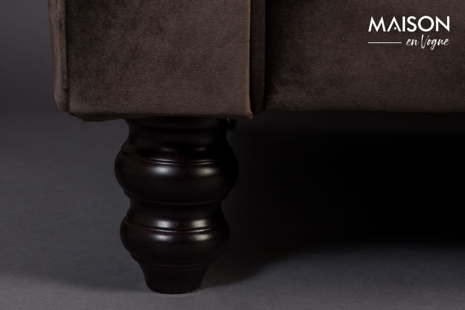 Canapé 3 places en velours marron