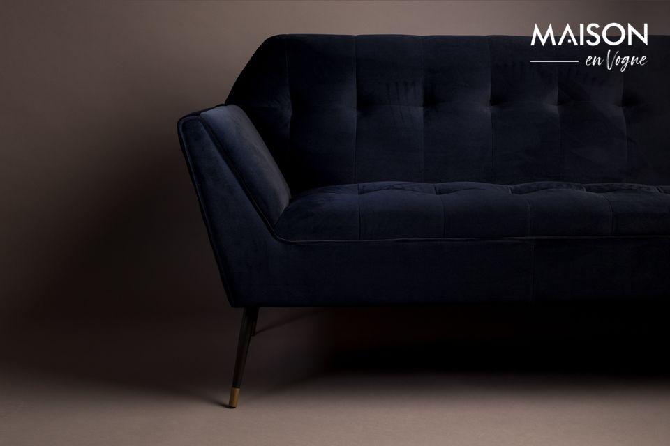 Cet élégant canapé 2 places est en velours 100 % polyester d\'un très raffiné bleu nuit pour