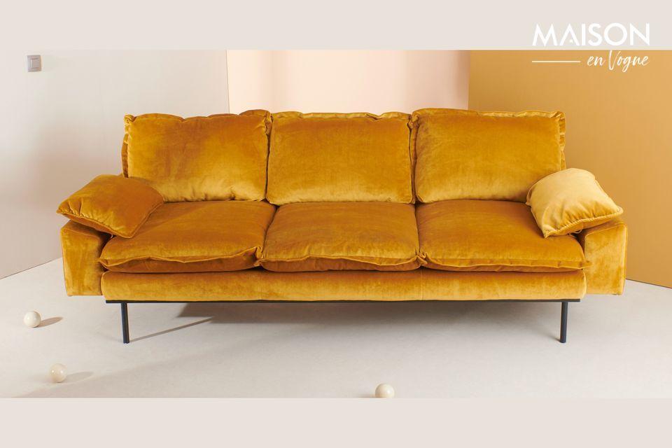 Canapé rétro 4 places Vez coloris ocre HK Living