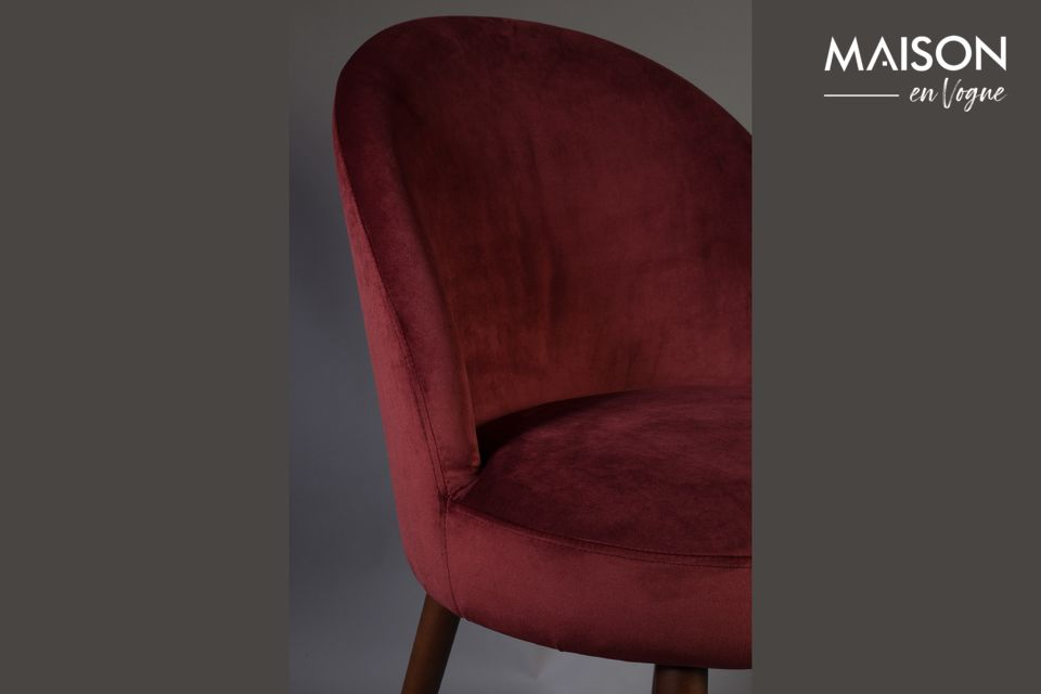 Chaise Barbara en velours rouge - 5