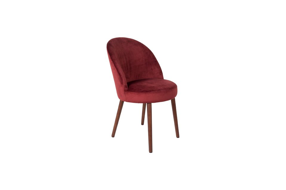 Chaise Barbara en velours rouge - 6