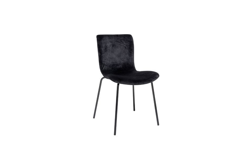 Chaise bloom en velours noir Bloomingville