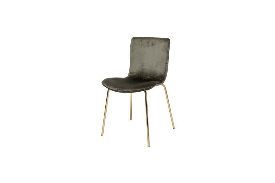 Cette chaise en polyester impression velours