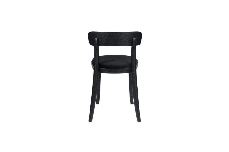Chaise Brandon noire en velours et bois - 11