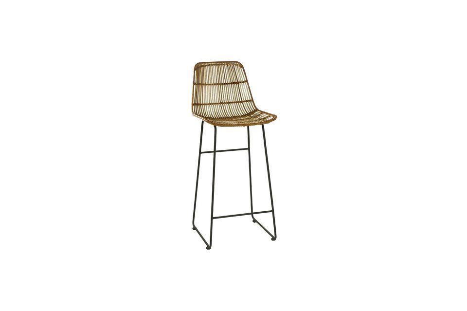 Ce modèle de chaise de bar Sun est pourvu d\'un piètement en métal avec repose-pieds à hauteur