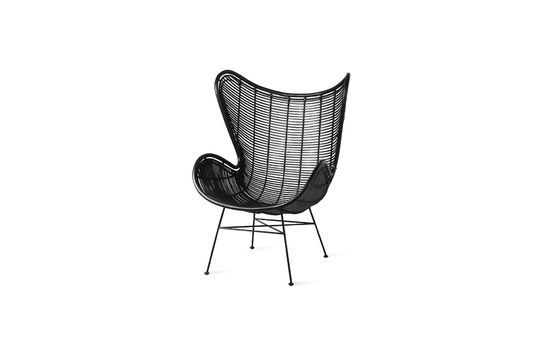 Chaise en rotin noir Lizos