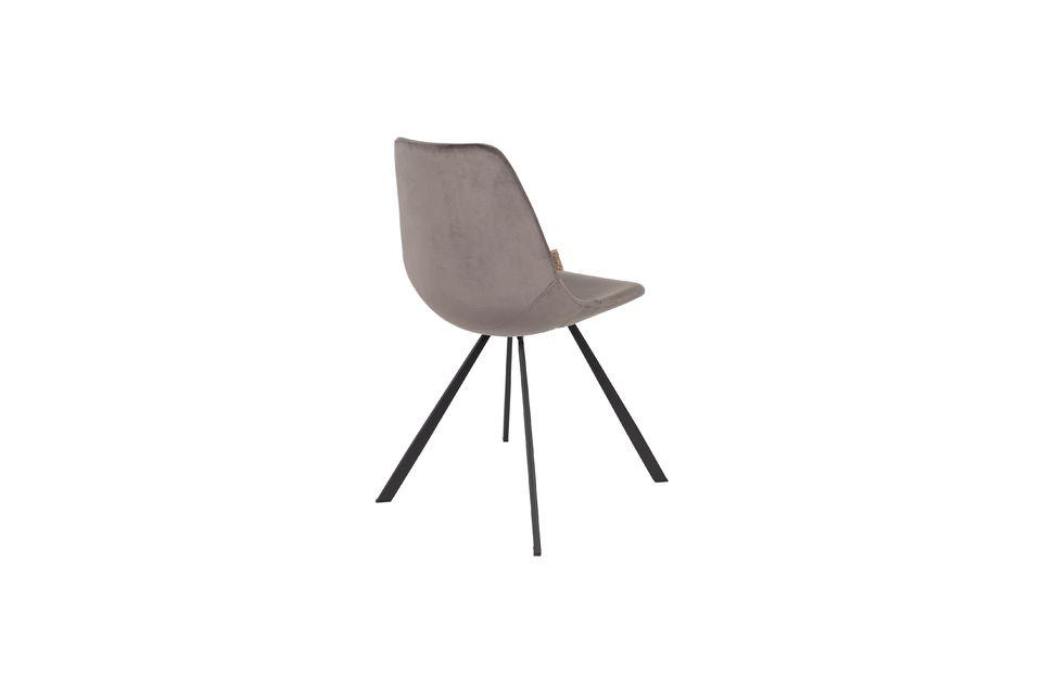 Chaise Franky en velours gris - 6