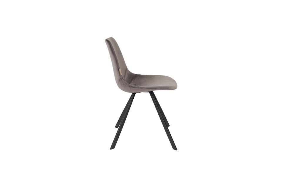Chaise Franky en velours gris - 7