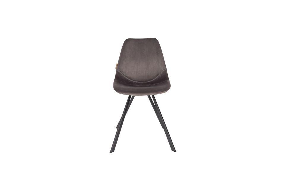 Chaise Franky en velours gris - 8