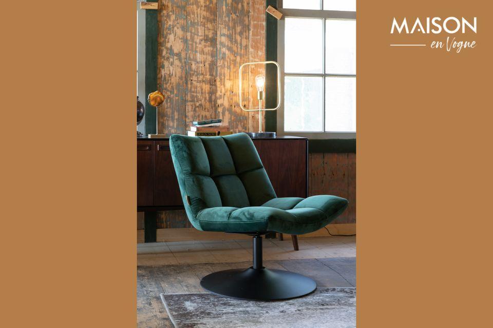 Chaise lounge Bar en velours vert Dutch Bone
