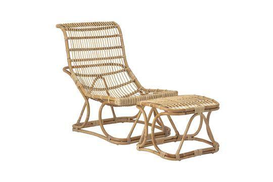 Chaise lounge Eloise en rotin avec repose-pieds