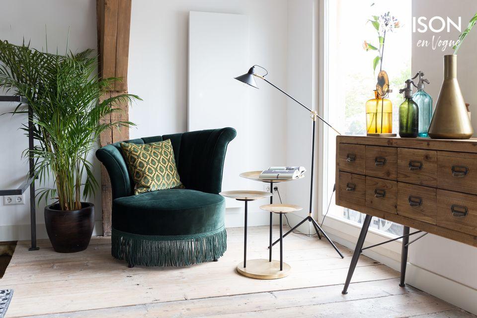 Ambiance Années 20 avec cette chaise lounge flair vert foncé à franges