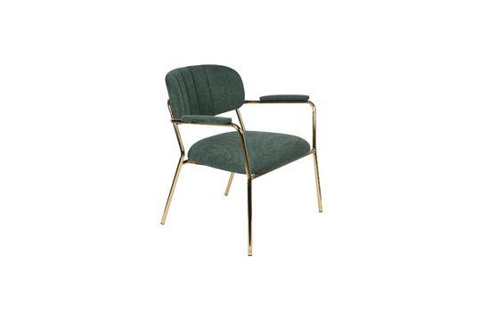 Chaise lounge Jolien à accoudoirs or et vert Foncé Détouré
