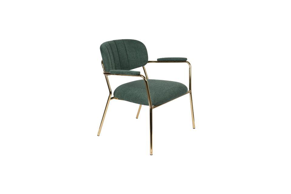 Chaise lounge Jolien à accoudoirs or et vert Foncé White Label