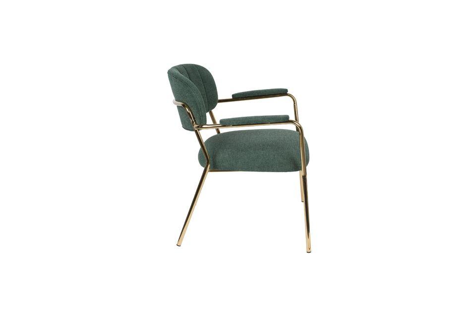 Chaise lounge Jolien à accoudoirs or et vert Foncé - 6