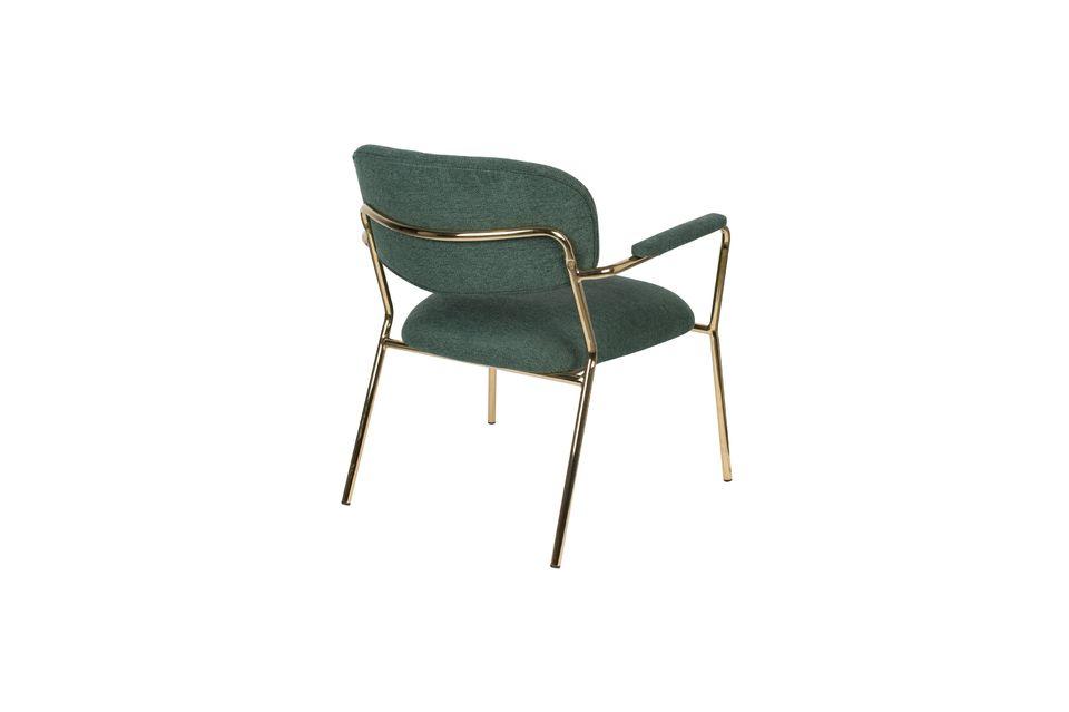 Chaise lounge Jolien à accoudoirs or et vert Foncé - 7