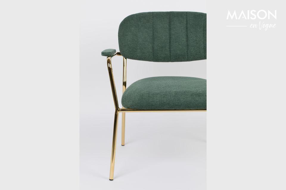 Chaise lounge Jolien couleur or et vert foncé