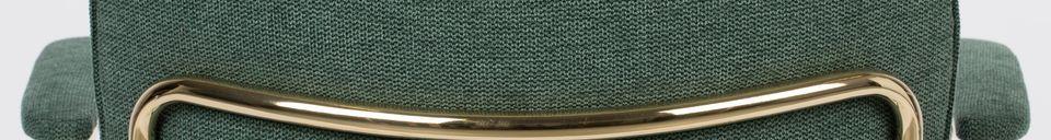 Mise en avant matière Chaise lounge Jolien à accoudoirs or et vert Foncé