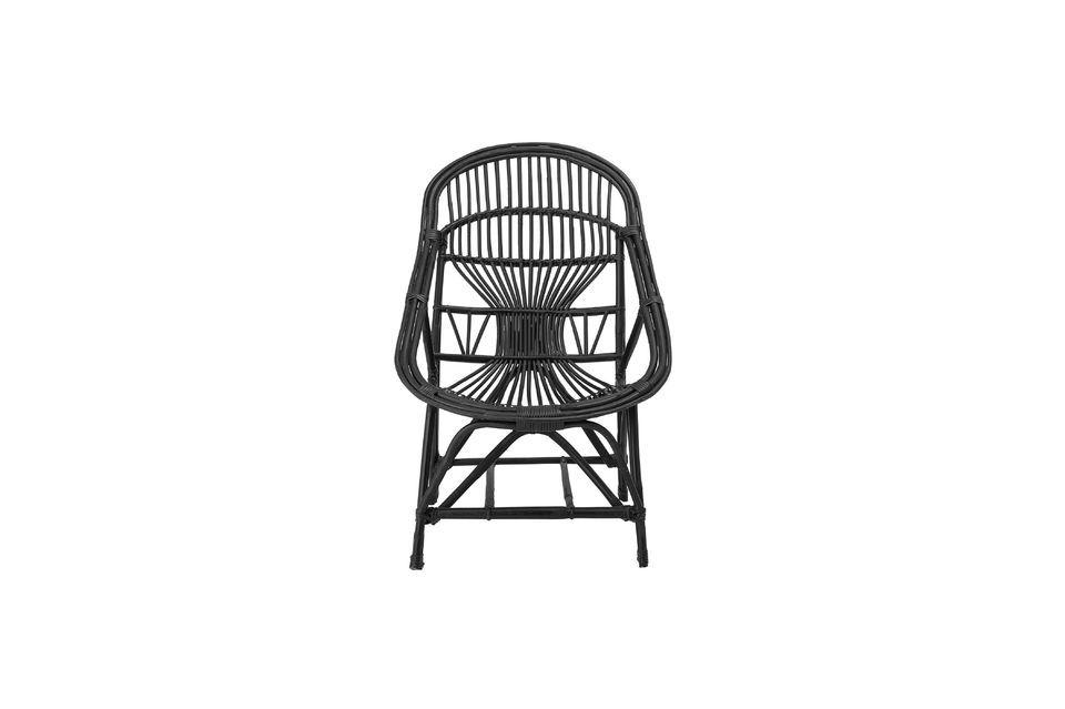 Chaise lounge Joline en rotin de couleur noire - 4