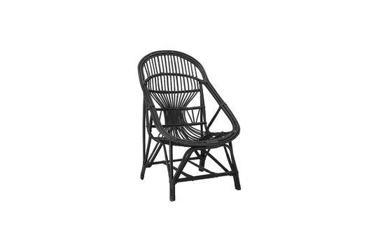 Chaise lounge Joline en rotin de couleur noire Détouré