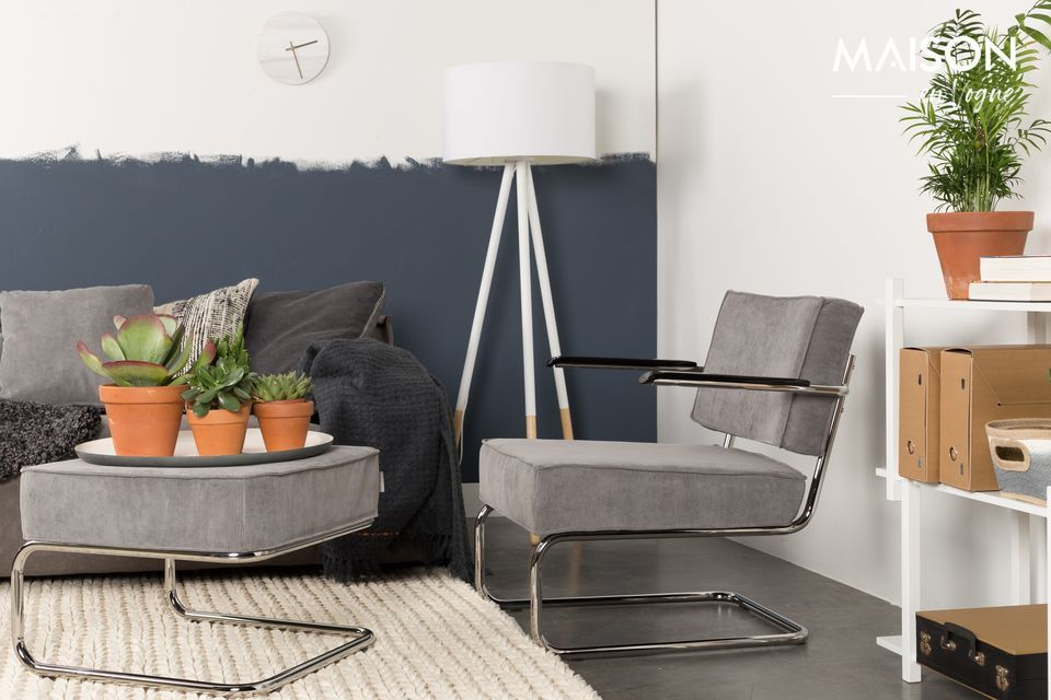 Chaise lounge Ridge Rib à accoudoirs couleur gris froid Zuiver
