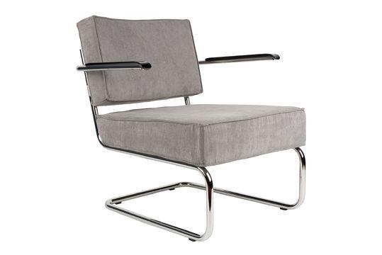 Chaise lounge Ridge Rib à accoudoirs couleur gris froid Détouré