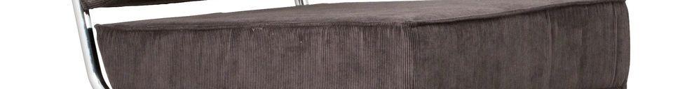 Mise en avant matière Chaise lounge Ridge Rib grise à accoudoirs