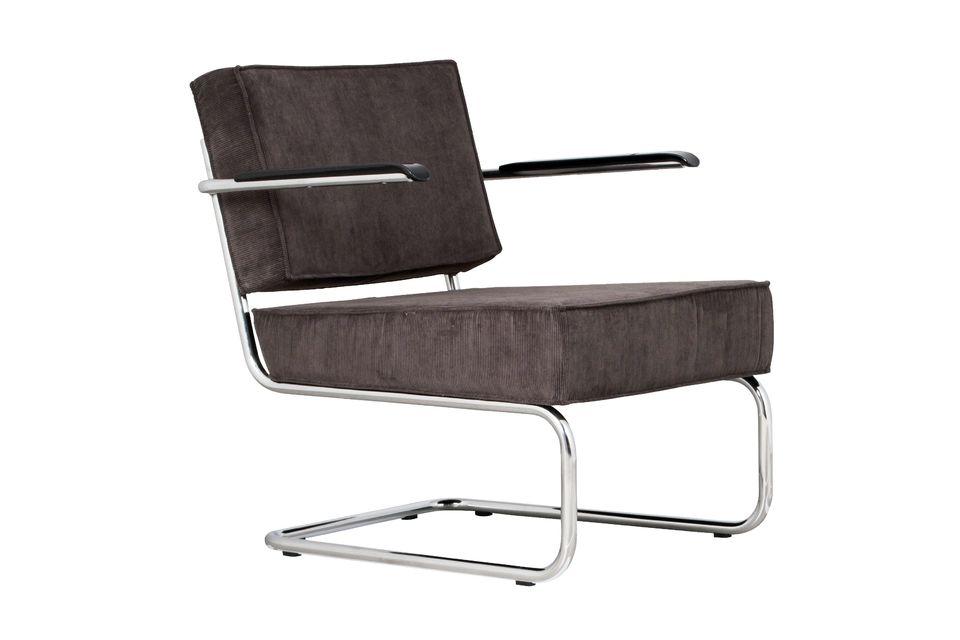 Chaise lounge Ridge Rib grise à accoudoirs Zuiver