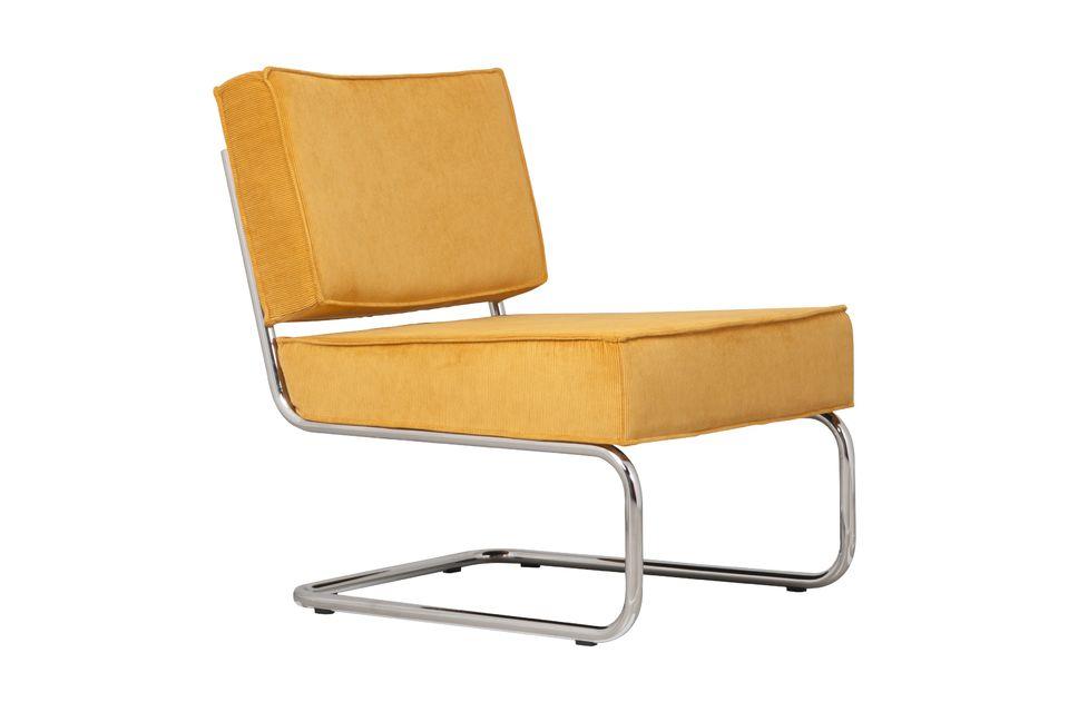 Chaise lounge Ridge Rib Jaune Zuiver