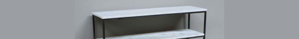 Mise en avant matière Console étroite Amanty en marbre et métal