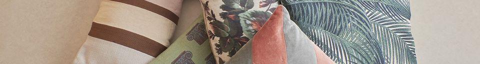 Mise en avant matière Coussin Bourth à imprimé feuilles de palmier