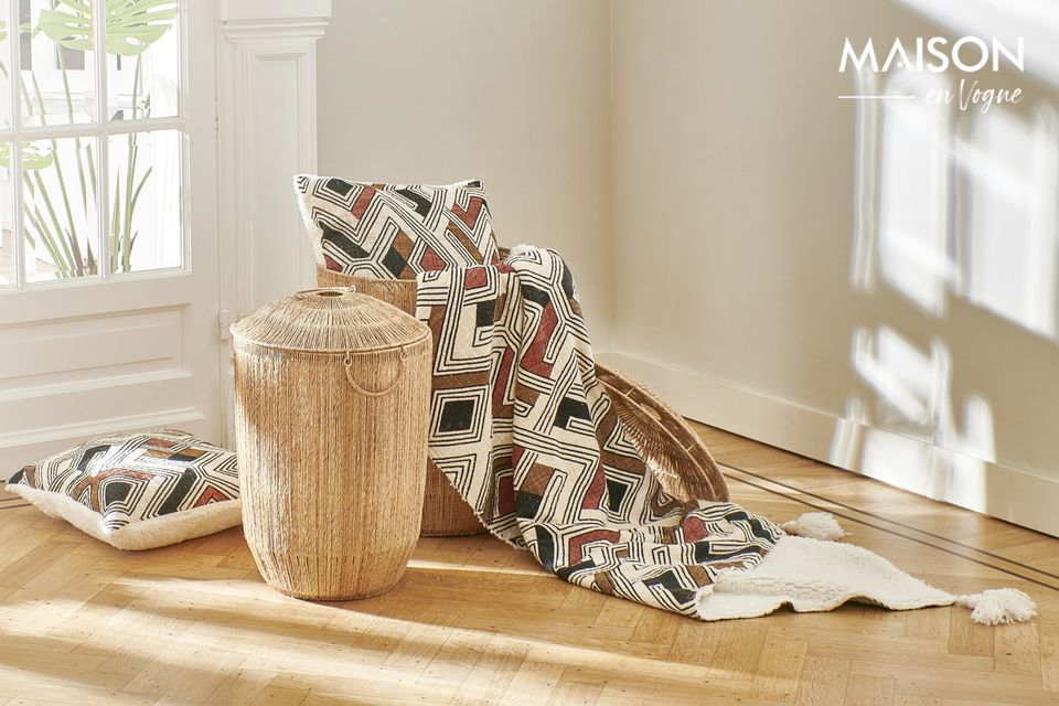 La base est en coton blanc tandis que l\'assise est imprimée dans des tons chaleureux multicolores