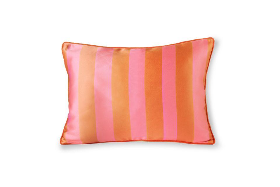 Coussin Hermies en satin et velours orange et rose HK Living