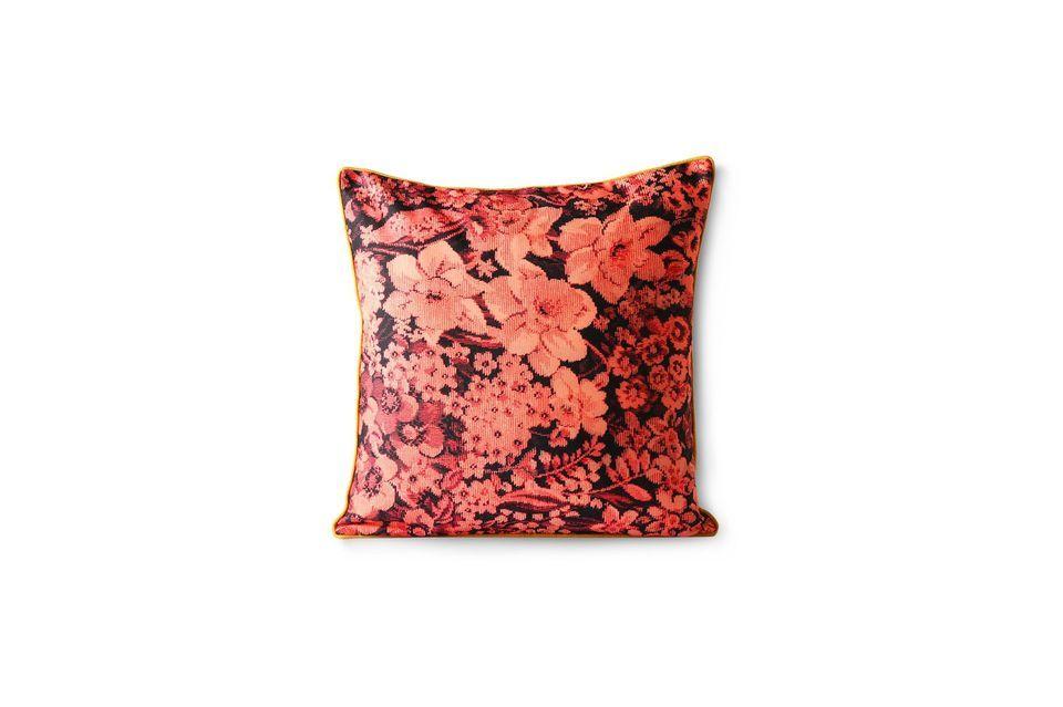 Coussin Jort à imprimé floral coloris corail et noir HK Living