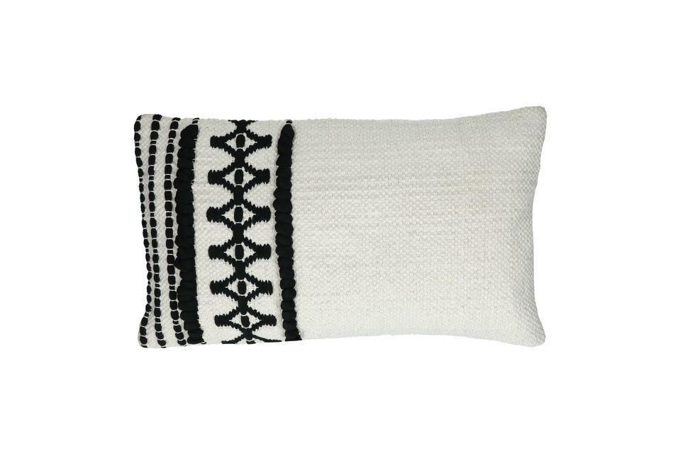 Coussin rectangulaire en coton noir et blanc