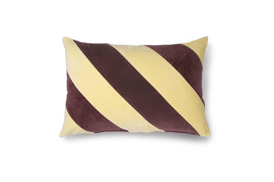 Coussin rayé Voulon en velours jaune et violet - 3