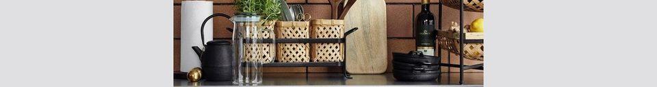 Mise en avant matière Desserte à Roulettes Sault avec Paniers en Bambou