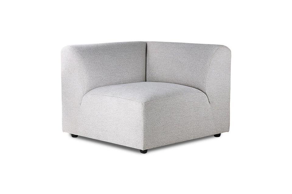 Le revêtement gris clair de l\'assise et des deux dossiers est 100 % en polyester