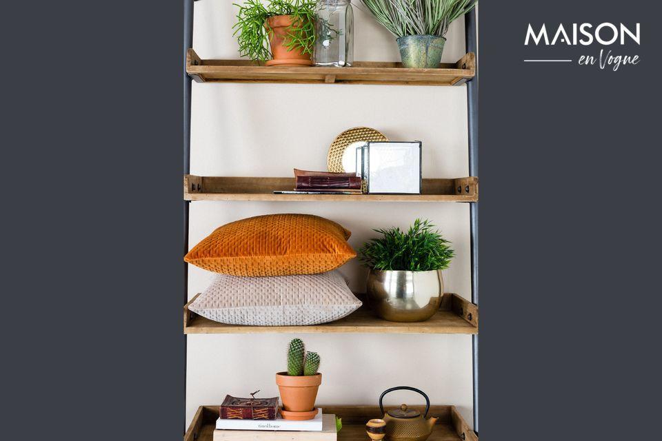 Grâce à ses 5 étagères en bois massif et à son cadre en acier, ce meuble est très solide
