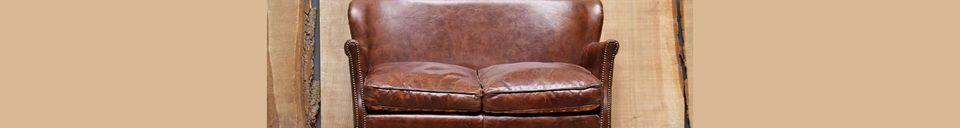 Mise en avant matière Fauteuil deux places en cuir Turner