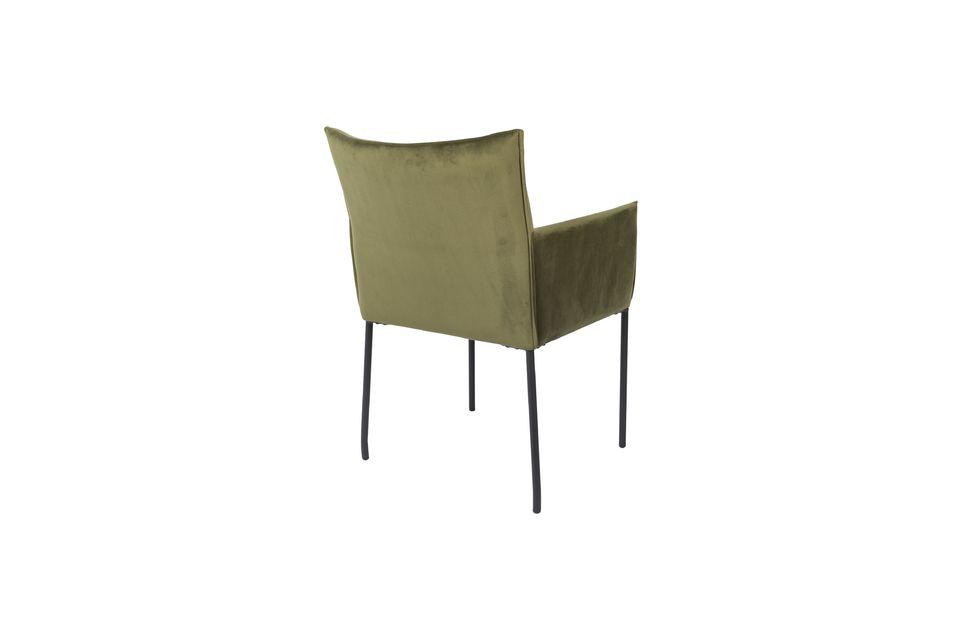 Fauteuil Dion en velours vert olive - 7