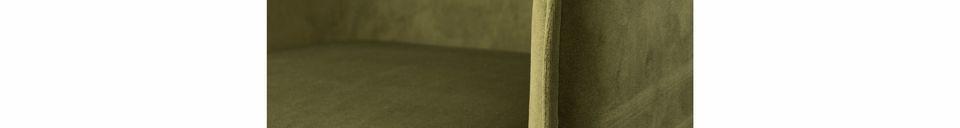 Mise en avant matière Fauteuil Dion en velours vert olive